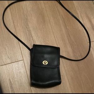Vintage Coach black leather small crossbody purse